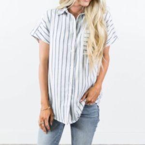Cara Stripe Button Up Top